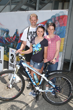 Team Priestley. Robin and Tracey Priestly with their daughter Hayley who continues to improve at international level in ladies' cycling.
