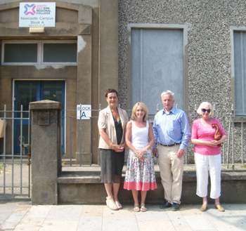 Cllr Carmel O'Boyle, Laura Devlin, Constituency Manager for Seán Rogers MLA, with Seán Rogers MLA and Anne Callen, local resident outside the forner SERC site  in Newcastle that Oaklee Housing Association are seeking to turn into social housing.