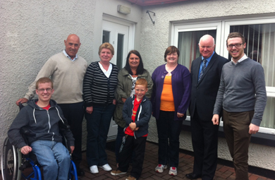 Killough residents with Dan O'Reilly, NIHE Maintenance Manager and Counciillor Gareth Sharvin.