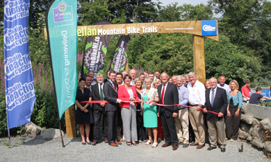 The Castlewellan mountain bike trail is officially opened by DETI Minister Arlene Forster.