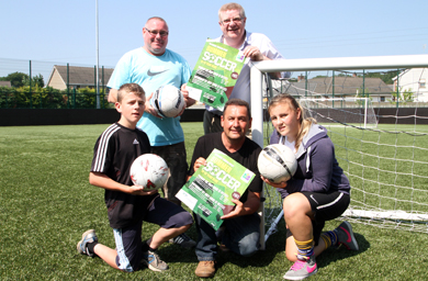 At the launch of the free summer soccer programme were, back row, John Ward of Castlewellan FC and Felix Blaney, Castlewellan Community Centre, with, front row, Ruairi Feenan, Councillor Willie Clarke, Down PCSP Chairmnan, and Nadine McAleenan.