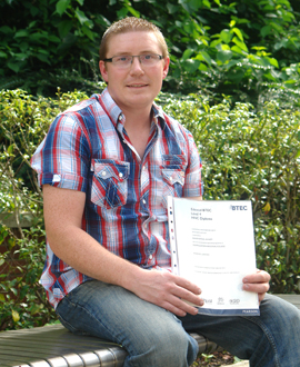Kilkeel student David Annett from SERC delighted with his results  in HNC Engineering with a distinction.