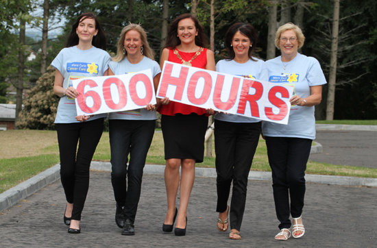 Shauna Goodhall, Jacqui Mason, Newastle Marie Curie Cancer Care Fundraising Group Co-Ordinator, Councillor Marie McCarthy, Down District Council Chairperson, Mary Kelly and Alice Andrson, getting into step for the 600 hours walk for Marie Curie Cancer Care.