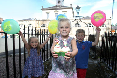 Imogen Armstrong (4), Emma Wallace (4) and Quinn Armstrong (6) are pictured at the launch of the Hillsborough International Oyster Festival's biggest ever programme of events.  (Photo Darren KIdd/Presseye).