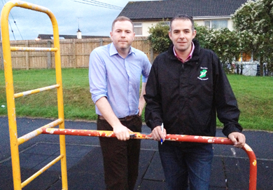 South Down MLA Chris Hazzard pictured with Council Pol O Gribin at the Drumaroad playground where there are safety concerns by local residents.