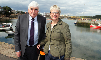 Councillor Dermot Curran with South Down MP Margaret Ritchie pictured at Ardglass harbour prior ro a meeting with local fishermen.