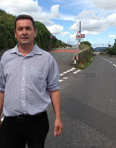 Councillor Willie Clarke concerned about traffic at the KIng Street junction in Newcastle.