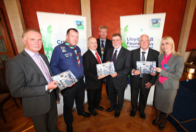 Attending the event were: Windsor Bell (Kairos Centre), John Hanna (Downpatrick Scout Hall), Eamonn O'Donnell (Enagh Youth Forum), Richard Morrison (Kairos Centre), Social Development Minister, Nelson McCausland, Pat Higgins (Downpatrick Scout Hall) and Lloyds TSB Foundation Trustee, Janine Donnelly.