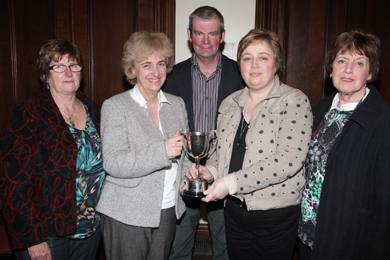 Alison and William Abernethy of Abernethy Butter present the Abernethy Butter Cup trophy to Castlewellan Show Home Industries committee members Fiona Patterson, Gaynus Malcolmson and Val Gordon last June.