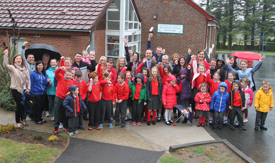 St Patrick's Primary School celebrate on hearing the news the CCMS had removed the threat of closure.