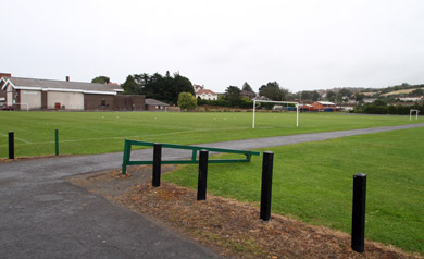 Dunleath Park in Downpatrick - a health scare has emerged after sludge from a sewage pipe has again leaked onto the playing fields.  NI water is investigating.