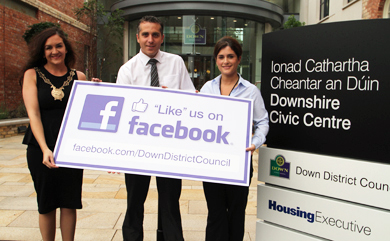 Launching the Council Facebook competition are Chairperson Councillor Maria McCarthy, Michael Forster, Business Support Officer, and Orla McGreevy, Marketing Officer.