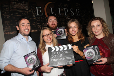 Launching Film 300 are Down Arts Centre manager Philip Campbell, Eclipse Cinema staff Una Duggan and Michelle O'Hare, with Rob Manley and Leontia Haldenby of Newcastle Community Cinema.