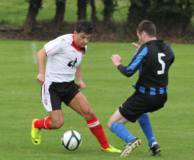 Adam Newell playing in the forward line for Killyleagh.