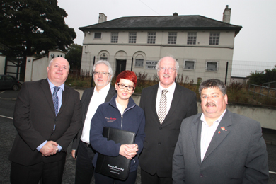 A Saintfield social housing scheme has been approved. Pictured are NIHE Downpatrick area assistant manager Liam Gunn, Michael Whitley architect, Jennifer Overend, Trinity Housing Association development officer, Strangford MP Jim Shannon and Councillor Billie Walker.