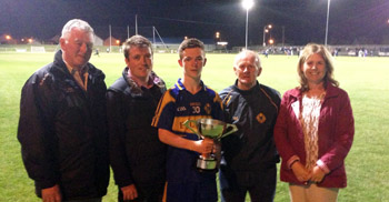 Seamus Walsh (Down County Chairman), Diarmuid Cahill (Down GAA Youth Board Chairman and Down GAA Ulster Council Delegate), Lorcan Harney (Saul Winning Captain), Kevin Fitzsimons (Saul assistant Manager and a representative of the Fitzsimons family who cup is named after), and Seana Talbot (Down GAA Youth Board