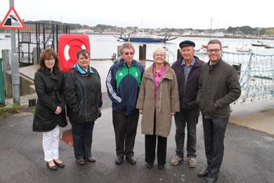 Pictured on the quayside at Strangford Harbour are local residents Joan Lundy, Roisin Curran, and Clifford McLenaghan with Soiuth Down MP Margaret Ritchie, Dairmuid Riordon, and Councillor Gareth Sharvin.