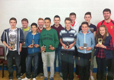 Bright GAC junior prize winners with Down player Peter Turley.
