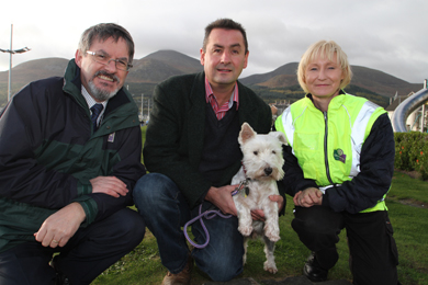 Canice O'Rourke, Down District Council Environmental Department  Director, PCSP Chairman Cllr Willie Clarke and Enforcement Officer Eleanor McCartney send out a message that dog fouling may incur fixed penalties.
