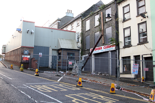 The scene in Irish Street in Downpatrick as concern arose over the safety of a building close to the police station.