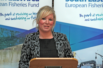 Fisheries MInister Michele O'Neil speaking at the launch of the EFF Sea-Flag programme.