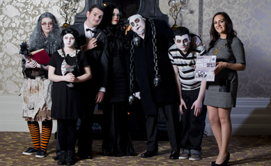Down District Council Chairman Cllr Maria McCarthy launched the 2013 Hallowtides Festival with the Addams Family.