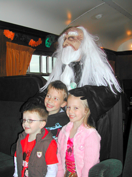 Merlin the Magician brings a little magic to the Halloween fun at Downpatrick railway.