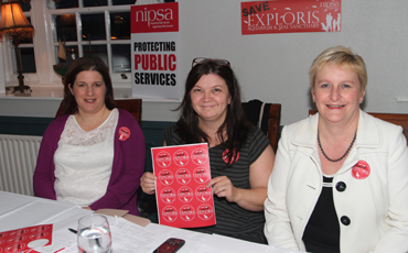 The battle for central government funding begins. At the meeting in the Portaferry Hotel to save the Exploris Aquarium were NIPSA's local reprsentaives Judith Caldwell and Antionette McMullan, and Alison Millar, Deputy General Secretary.