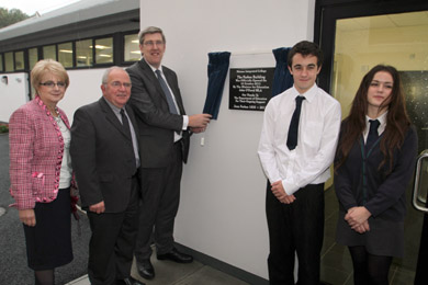 At the offical opening of the Forbes building were Principal Kevin Lambe, Minister John O'Dowd, and Fith Formers Stephen George and Dearbhail Brogan.