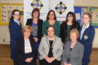 Deputy Head Girld Jenna Corin, Year heads Mrs M Arkins, Ms R McKee, Ms J Beedim, and Head Girl Amy Smyth, with front row, School Principal Mrs S Darling, Guest Speaker Sr D Mullan, Executive Director of Partnership for Global Justice at the UN, and Mrs R Mclaughlin, Vice Principal.