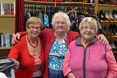 SVP volunteers Celine O'Connor, Nora Lowry and Eileen Jervis pictured in the Ballymote shop in Downpatrick.