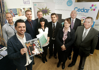 At the WEE 2 celebration are (L/R):  Pete Snodden (Presenter, Cool FM), Robert Owens (Manager, Action Mental Health), Freddy Sloan (Well2 Project Co-Ordinator, South Eastern HSC Trust), Don Bradley (Asst. Director Adult Services, South Eastern HSC Trust), Nuala Trainor ( Cedar Foundation), Michael Blair (Cedar Foundation), Joe O'Neill (Community Mental Health Services Manager, South Eastern HSC Trust), Geraldine Campbell (Big Lottery Fund) & Colm McKenna (Chairman, South Eastern HSC Trust)