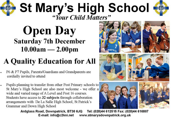 St Mary S High School Open Day 2013 Down News