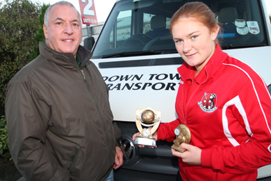 Bob Parkes, manager of Downtown Transport chats with Amy McGivern, NI soccer star from Drumaness.