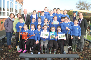 Pupils from St Nicholas' Primary School in Ardglass enjoying a biodiversity session in the school garden.