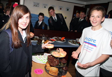 The bun sale at Blackwater College raised £250 for Aspire.