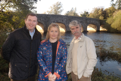 South Down MLA Chris Hazzard, Naomi Baiiie, Sinn FŽéin election candidate and Cllr Eamonn Mac Con Midhe at the River Quoile in Downpatrick.
