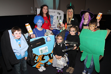 Down District Council Chairman Cllr Maria McCarthy with winners in the competition run by the Environmental Dept during the Adams Family free showing in the St Patrick Centre. Included are overall recycling competition winner Caiomhe Galbraith from Downpatrick with Jack and Ben Sloan, and Alice and Lily Ferguson coming next.