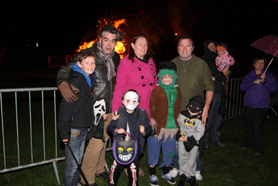 The Miskelly family at the Crossgar bonfire.