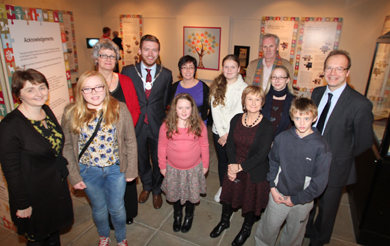 At the launch of the project were Peace III and Down County Museum staff, Down District Council Vice Chair Cllr Gareth Sharvin, Professor Finbar McCormick and members of the Younng Archeologists Club.