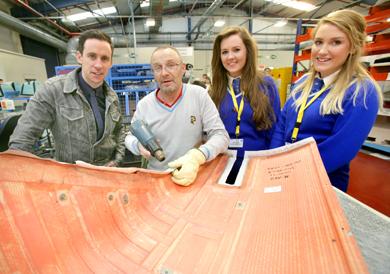 Assumption Grammar School pupils Maria Larkin and Annie Duffy pictured during their visit to B/E Aerospace.