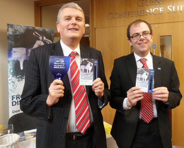 South Down DUP MLA Jim Wells Jim Wells with NI Water's Graeme Smyth at the annual conference getting the message out about 'Beat the Freeze'.