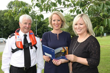Fisheries Minister Michelle O'Neill pictured with Superintendent Maurice Lake from the Fishermen's Mission, and Dr Lynn Gilmore, from Seafish NI at the launch of the funding for  Personal Flotation Devices.