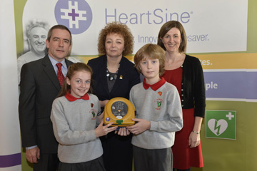St Patrick's PS pupils from Saul Caitlin Burke and Sean Fitzsimons with teacher Susan Sealey.