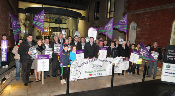 Local politicians and community health campaigners pictured outside the Downshire Civic Forum before the meeting with the South  Eastern HSC Trust.