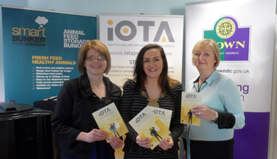 Aveen McVeigh, co-ordinator of the iOTA programme, with Down District Council Chairman Cllr Maria McCarthy and Janice Symington, Down Busines Centre manager at the launch of the iOTA Roadshow promoting business innovation.