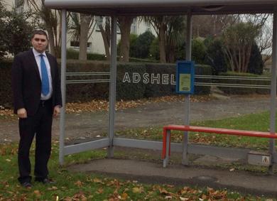 UKIP representative Alan Lewis at the Seaforde bus shelter.