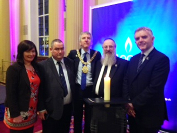 Jennifer Mc Cann MLA , junior Minister OFMDFM , Councillor Terry Andrews Down District Council , Rt Hon the Lord Mayor of Belfast Mairtin O Muilleoir, Chief Rabbi David Singer, and Jonathan Bell MLA , junior Minister OFMDFM.