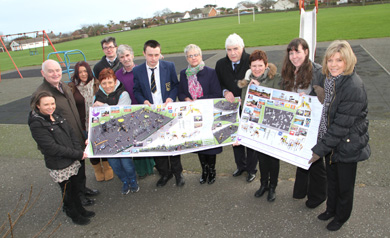 Moving ahead: Ardglass is to have it's Meadow Playpark rejuvenated. Pictured are members of ARG, the CDRCN, DRAP, and the NIHE with Councillors Cllr sEamonn Mac Con Midhe, and Dermot Curran, and South Down MP Margaret Ritchie.