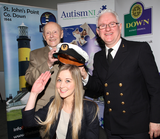 If the hat fits! Father and son, William and Pat Power, who both served with Irish Lights as lighthouse keepers, are looking forward to their talk on the history of St John's Point Lighthouse and the SS Great Britain. Included is Autism NI officer, Rachel Gribben.